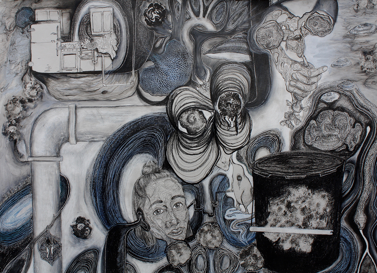 Grandma's Painkillers are in the Black Bucket, mixed media on paper drawing by Olivia Wieland.