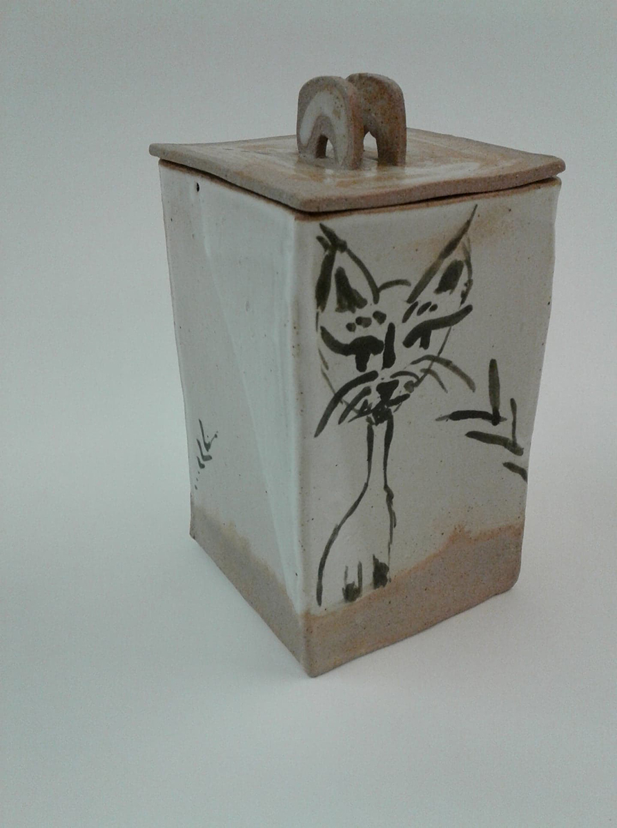 Curious Cat, clay ceramic jar by Abby Louise Showers.