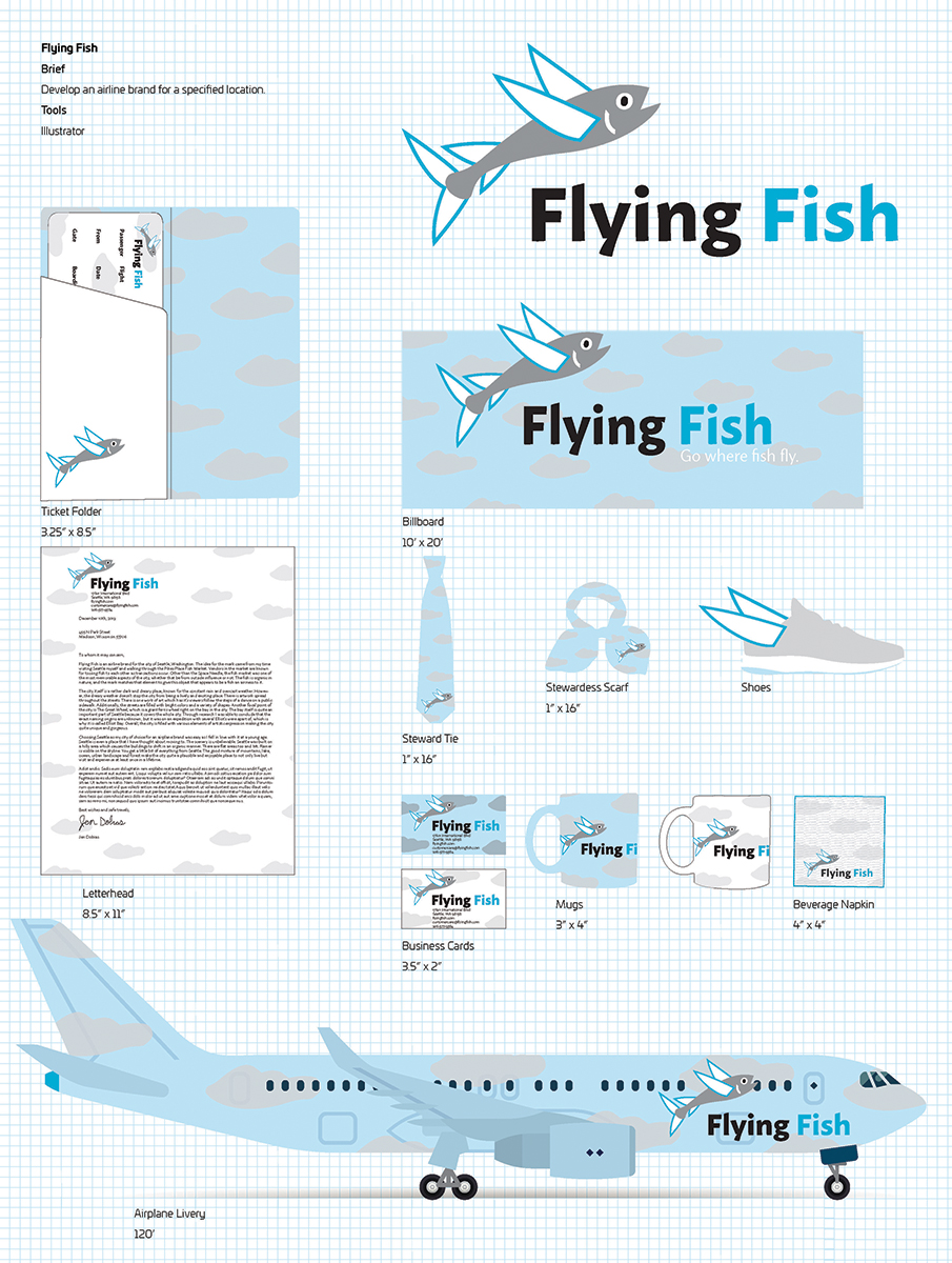 Flying Fish, airline brand design by Jen Dobias.