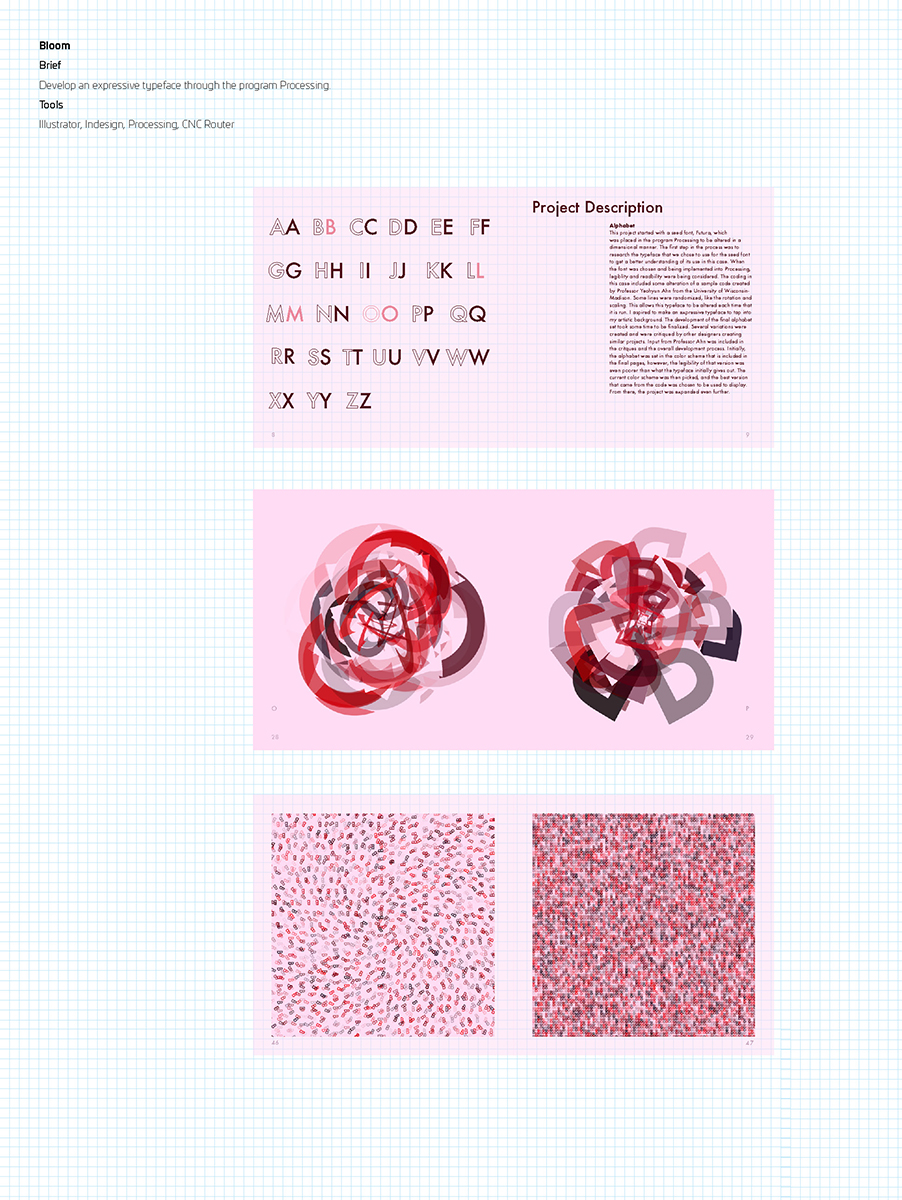 Bloom, typeface design by Jen Dobias.