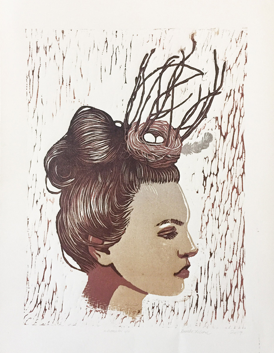 Like a Dove, reductive woodcut print by Brooke Leland.