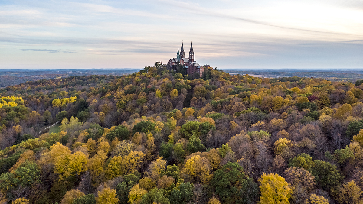 Holy Hill, a landscape photograph by Maxx McGinnis taken using a drone during the fall of 2019.