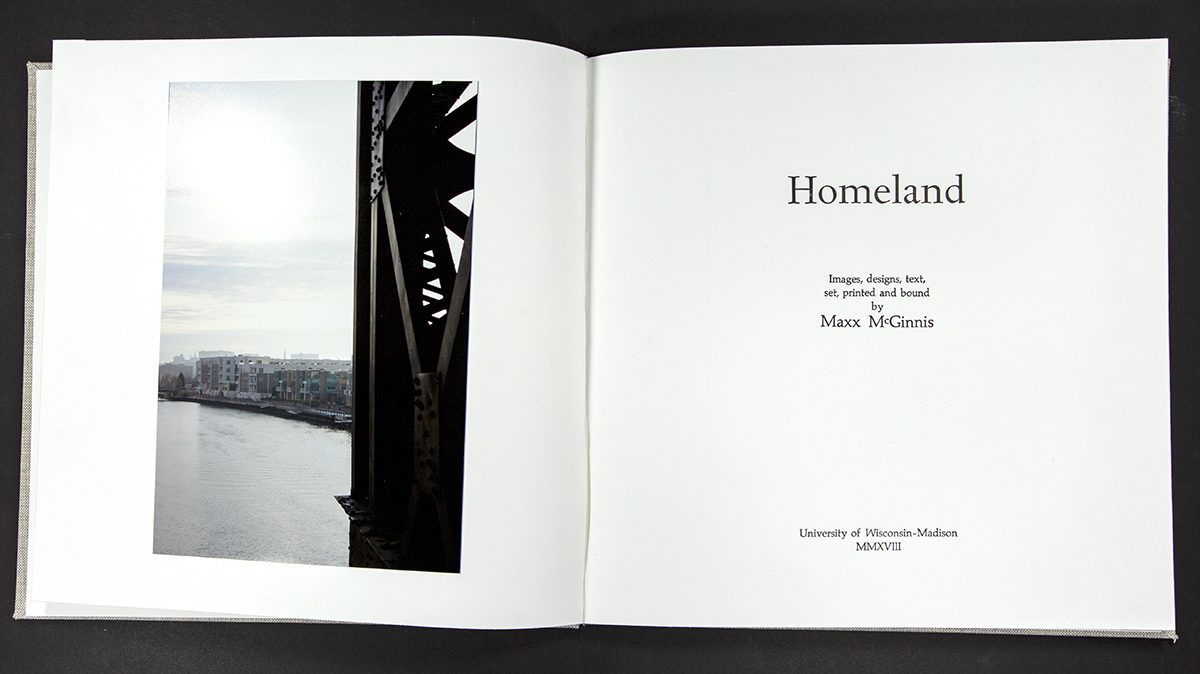 Homeland, an artist photo book by Maxx McGinnis made from presentation paper with grey book cloth cover.