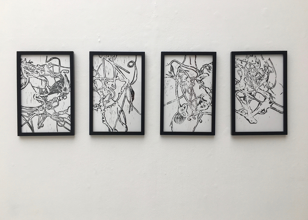 Molten Gesture Series I, ink on paper print series by Annika Neidinger.