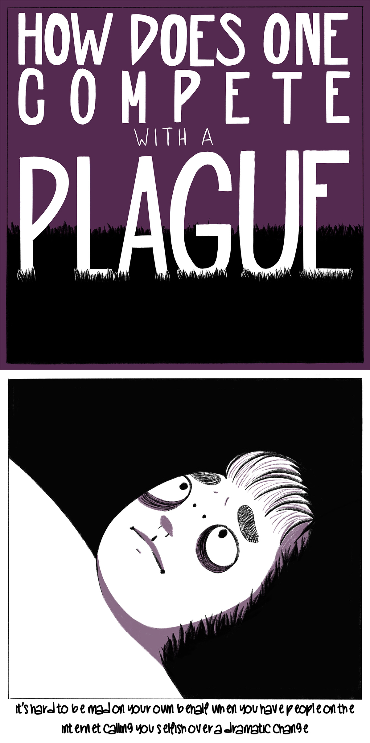 How Does One Compete With a Plague, ten-panel digital comic reflection taken place during the 2020 COVID-19 pandemic by Alex Elgas.