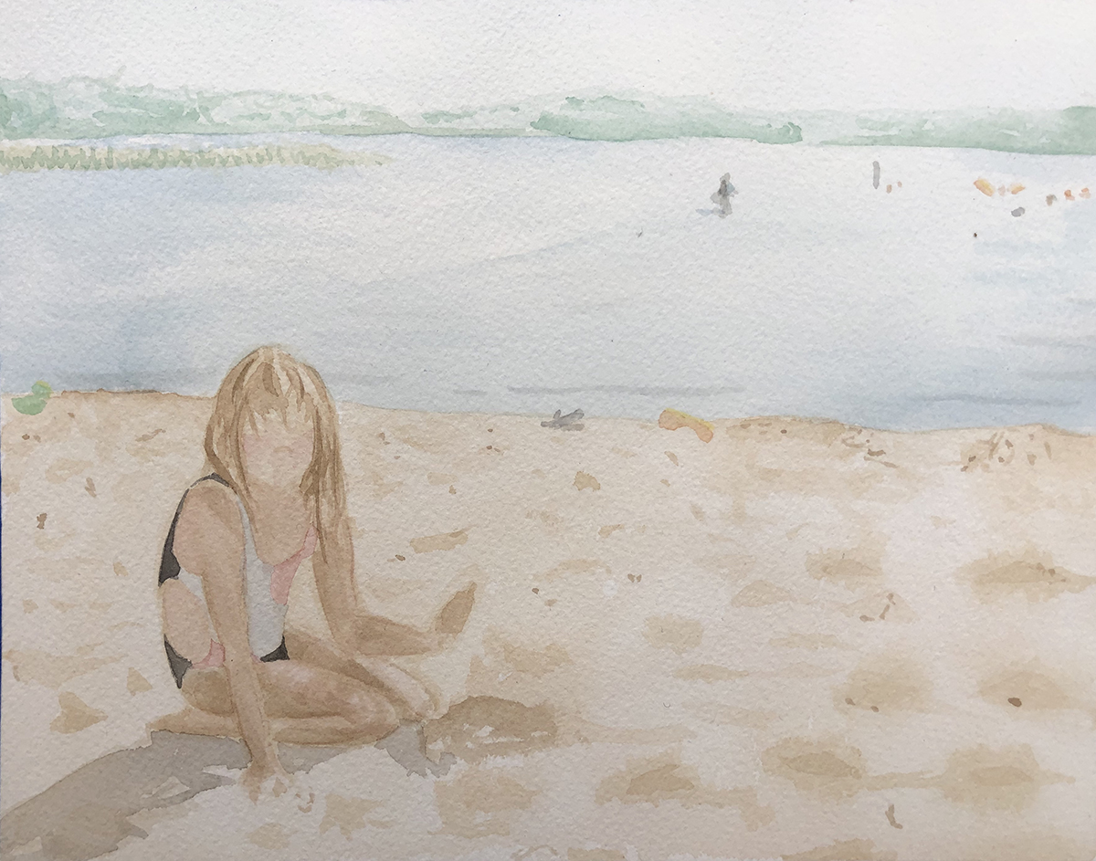 The Beach, watercolor painting by Heather Myer.