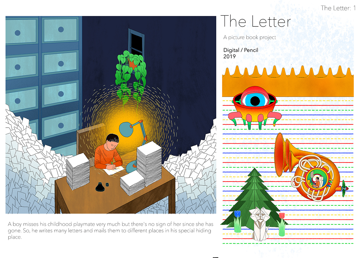 The Letter, original story and digital and pencil illustrations by Wenxu Zhao.