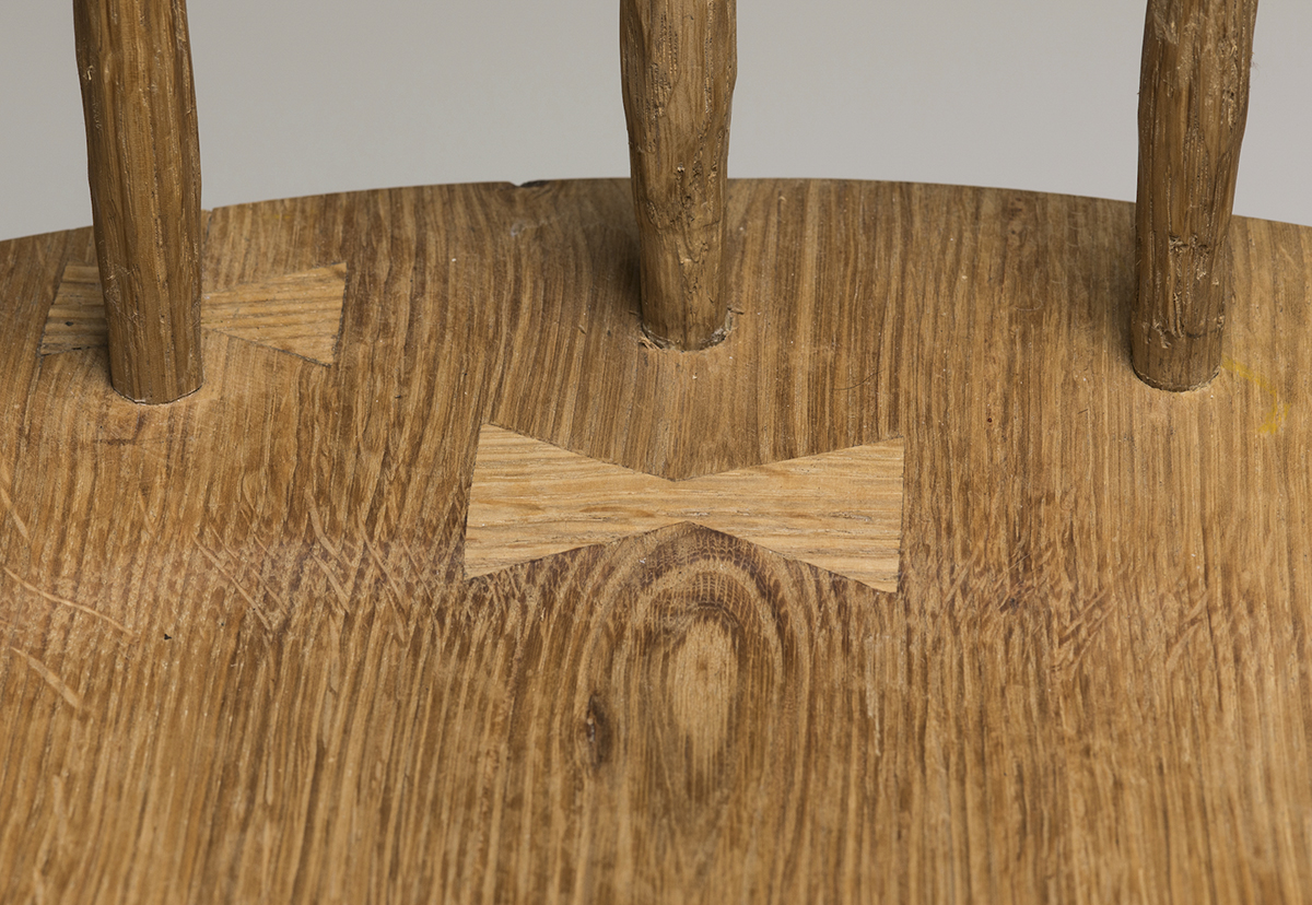 One Arm Windsor detail, white oak woodworking furniture by Lauren Newby.