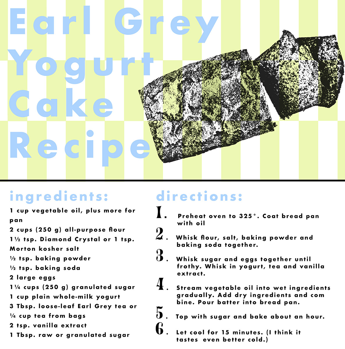 Earl Grey Yogurt Cake, recipe card design by Ellie Braun.