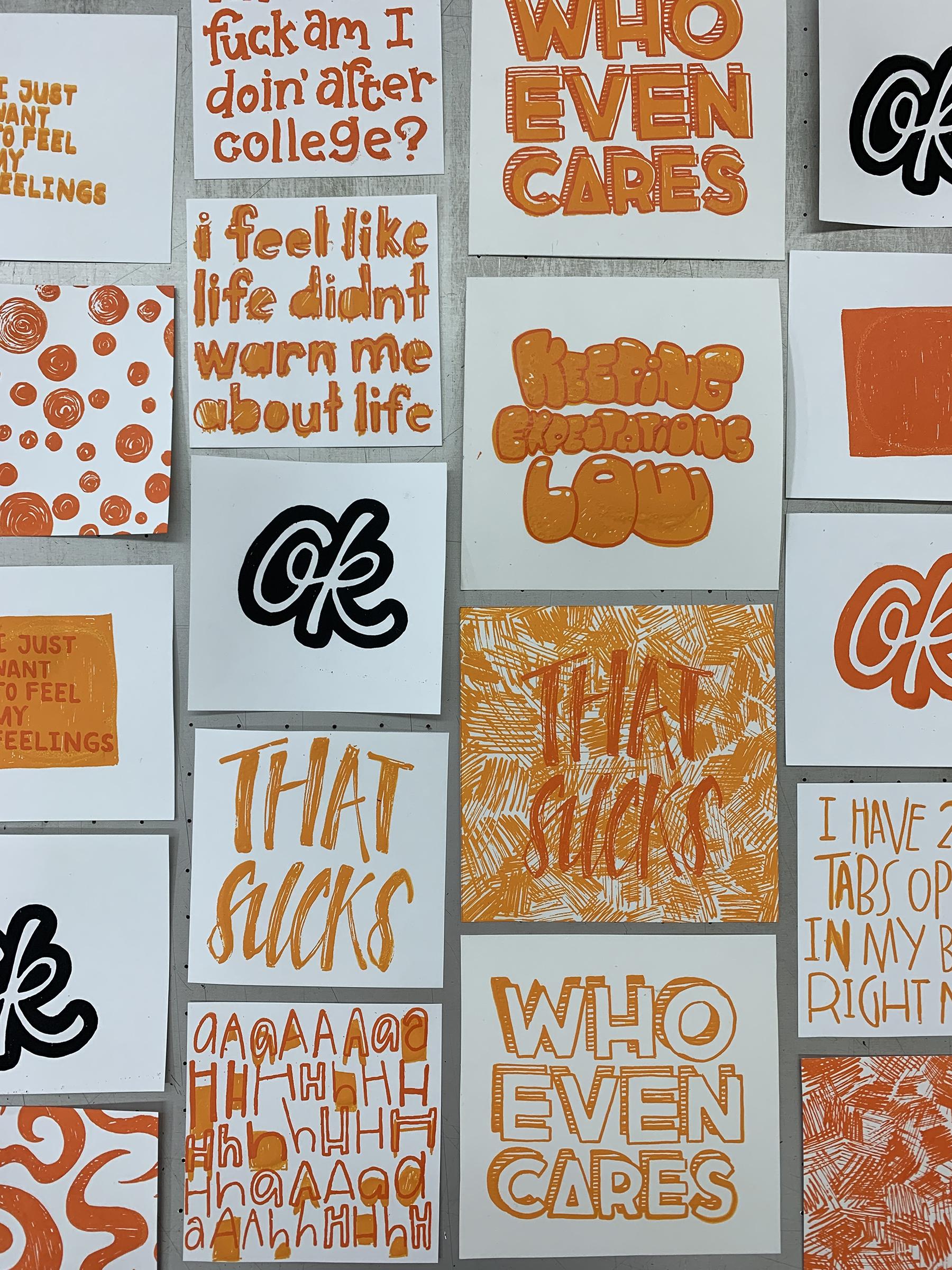 Emotional Efficiency Aesthetic Layout printmaking by Emma Leeper.