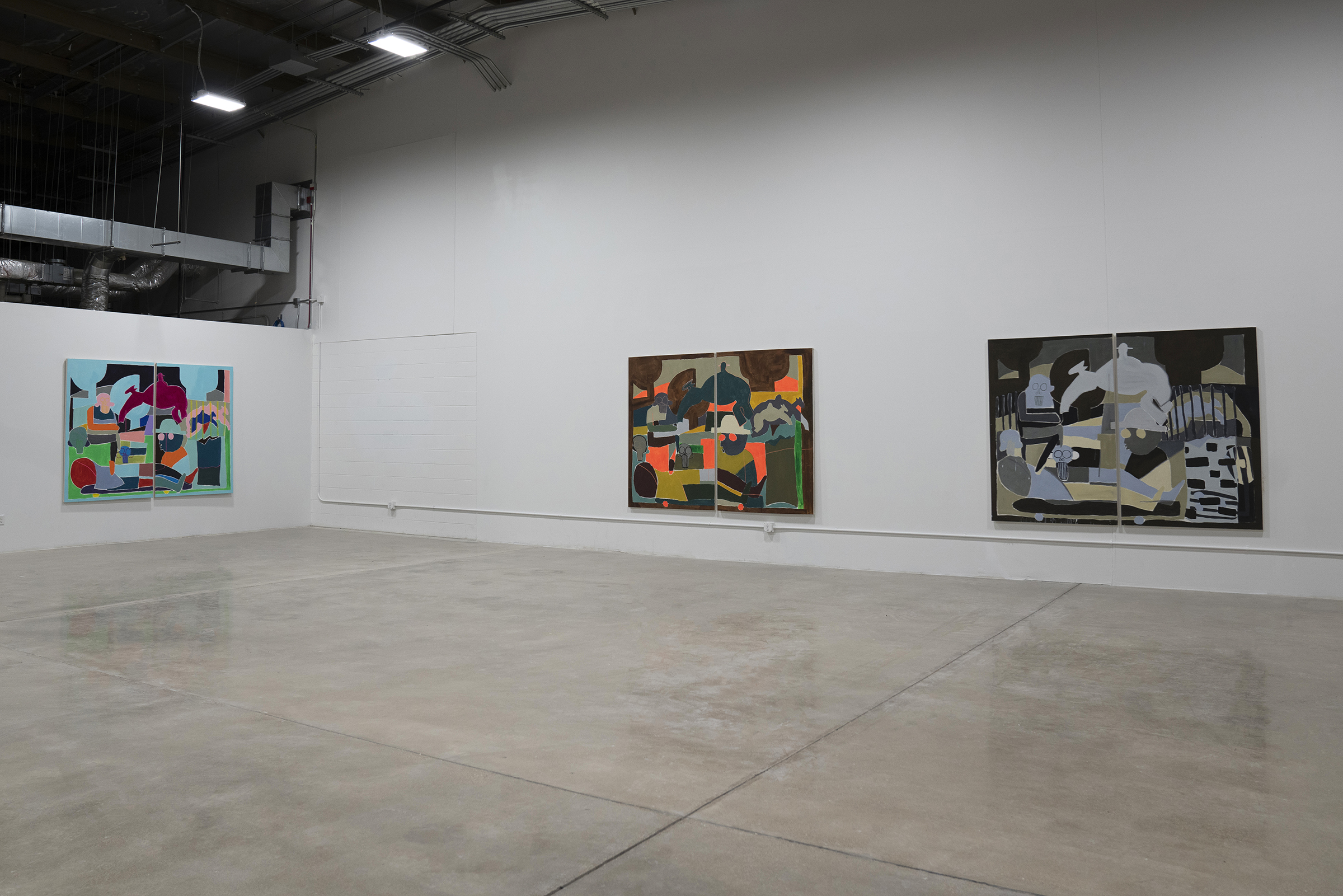 Installation view of Self-Portrait Within Parallel Plans Master of Fine Arts Exhibition by Taj Matumbi at the Art Lofts Gallery, University of Wisconsin-Madison.