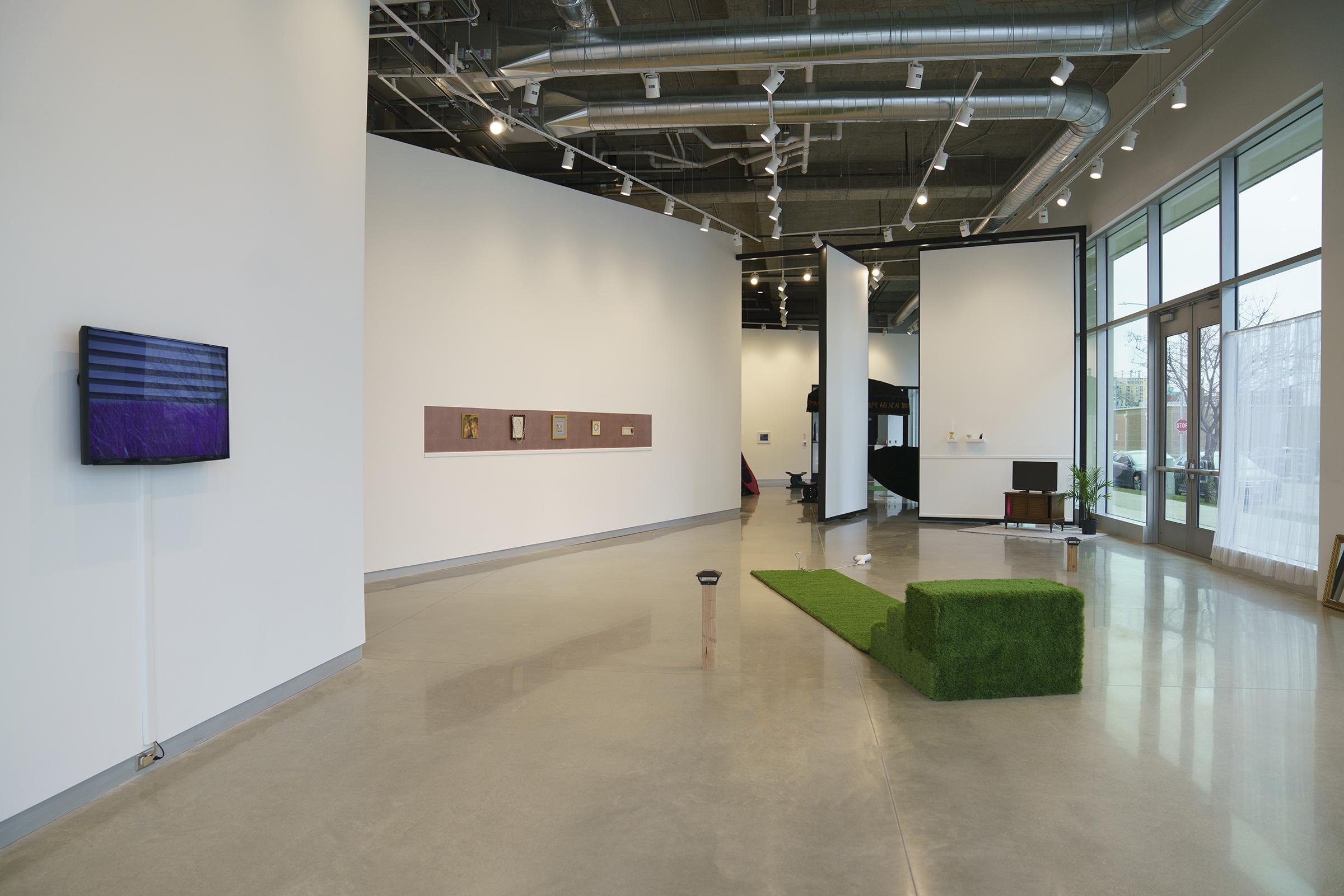 Installation view of (Sub)urbia Master of Fine Arts Exhibition by Conley Clark at the Arts + Literature Laboratory.