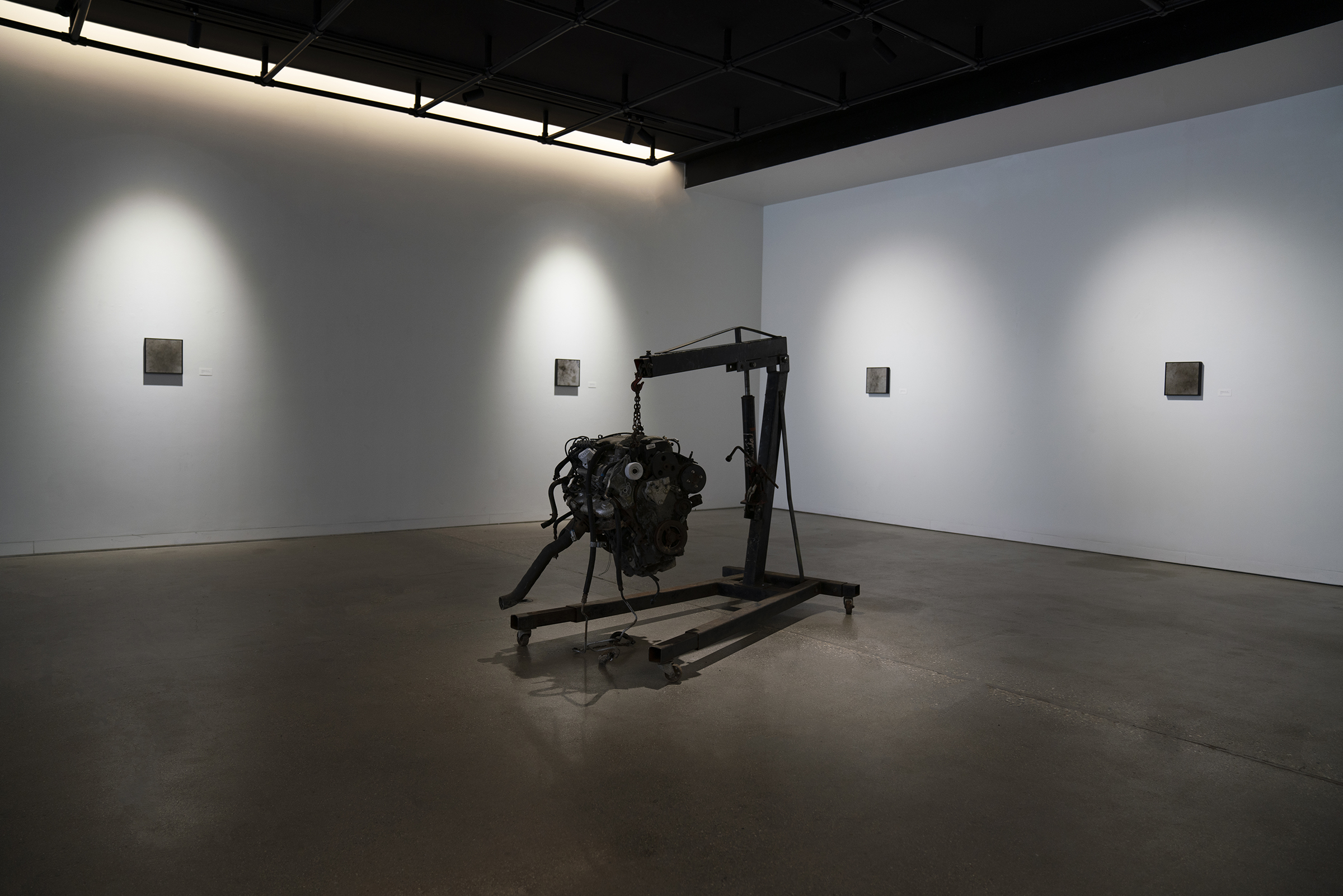 Installation view of Blood, Sweat, and Oil Master of Fine Arts Exhibition by Eric Hazeltine at the Art Lofts Gallery, University of Wisconsin-Madison.