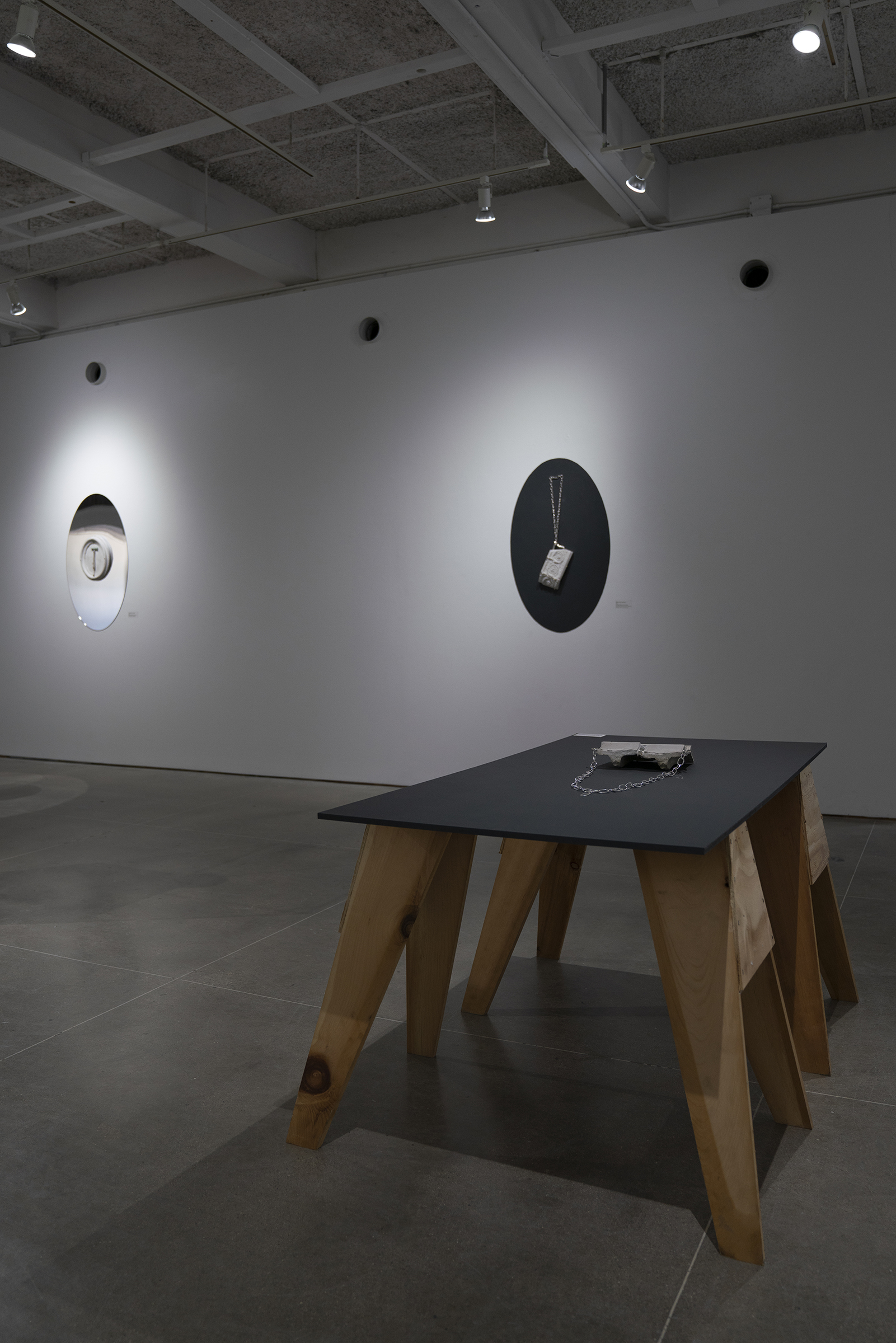 Installation view of 自 𐩑 愈 Self-healing Culture Master of Fine Arts Exhibition by Ziqin (Marsh) Min at Gallery 7, Humanities Building, University of Wisconsin-Madison.