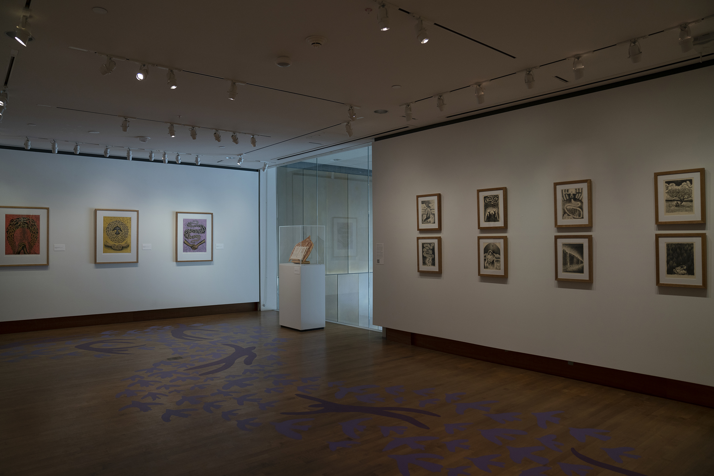 Installation view of Untethered: Our Journey Beyond Borders by Roberto Torres Mata at the Chazen Museum of Art, University of Wisconsin-Madison.