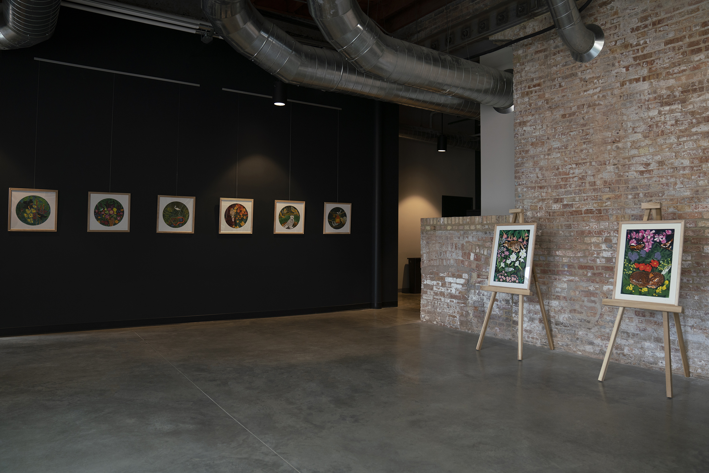 Installation view of MAGIC IS ALIVE, DOG IS AFOOT Master of Fine Arts Exhibition by Lesley Anne Numbers at Garver Feed Mill.