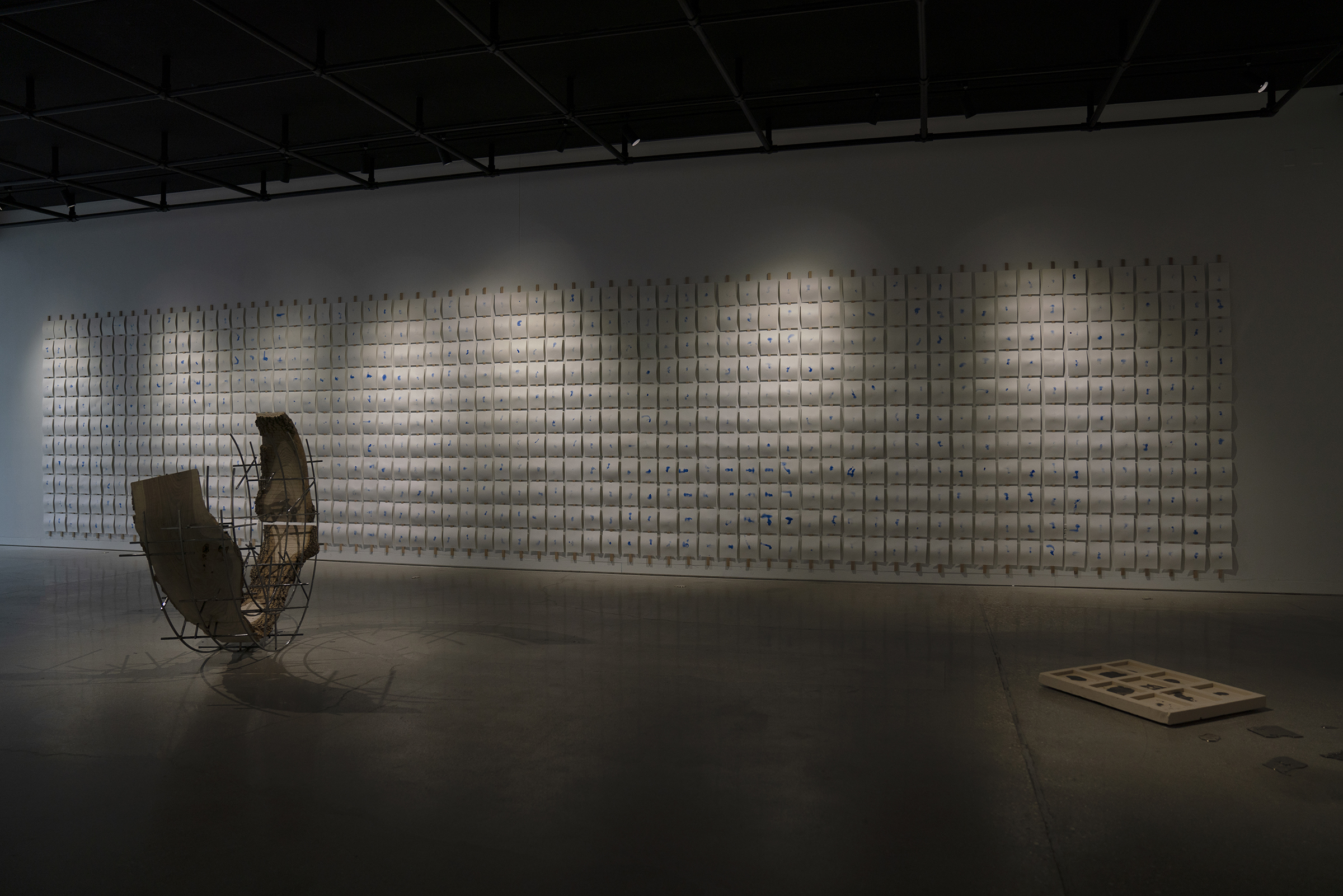 Installation view of Outpour Master of Fine Arts Exhibition by Matthew Vivirito at the Art Lofts Gallery, University of Wisconsin-Madison.