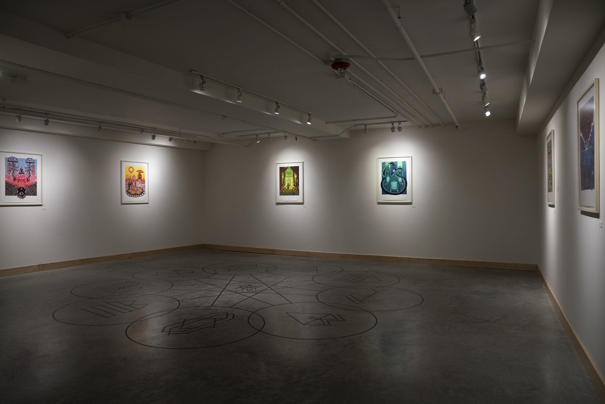 Installation view of The Hallowed Veil Master of Fine Arts Exhibition by Jonathan Byxbe at the Apex Gallery, Tandem Press, University of Wisconsin-Madison.
