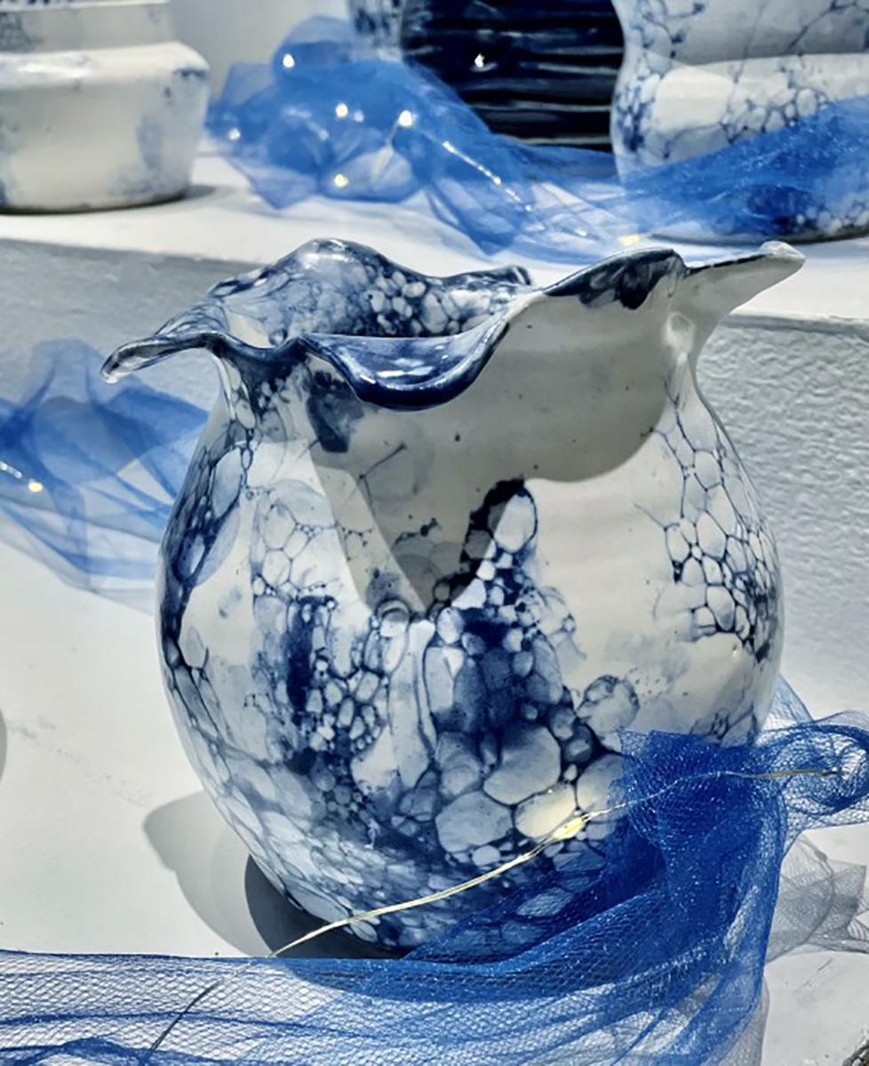 Altered Vase glazed cone 6 stoneware by Kennedy McCarthy.