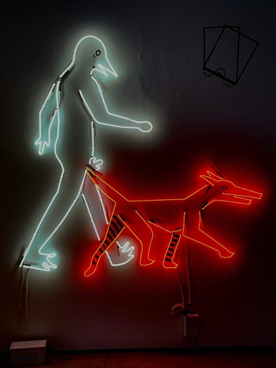 Le Promenade, neon, argon, transformer, electrical tape by Paulina Eguino.