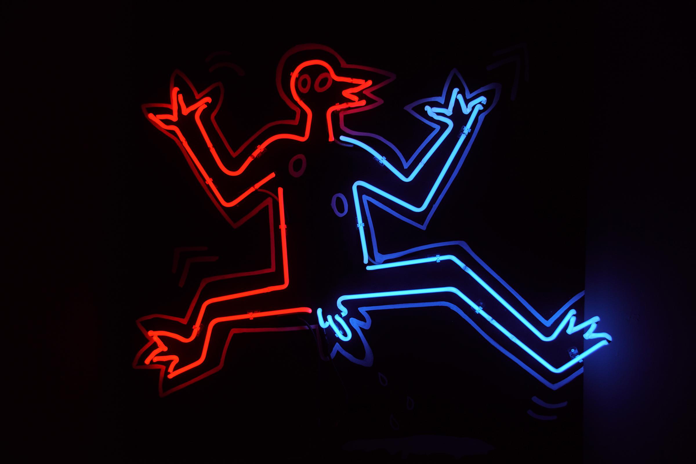 Penguino, neon by Paulina Eguino.