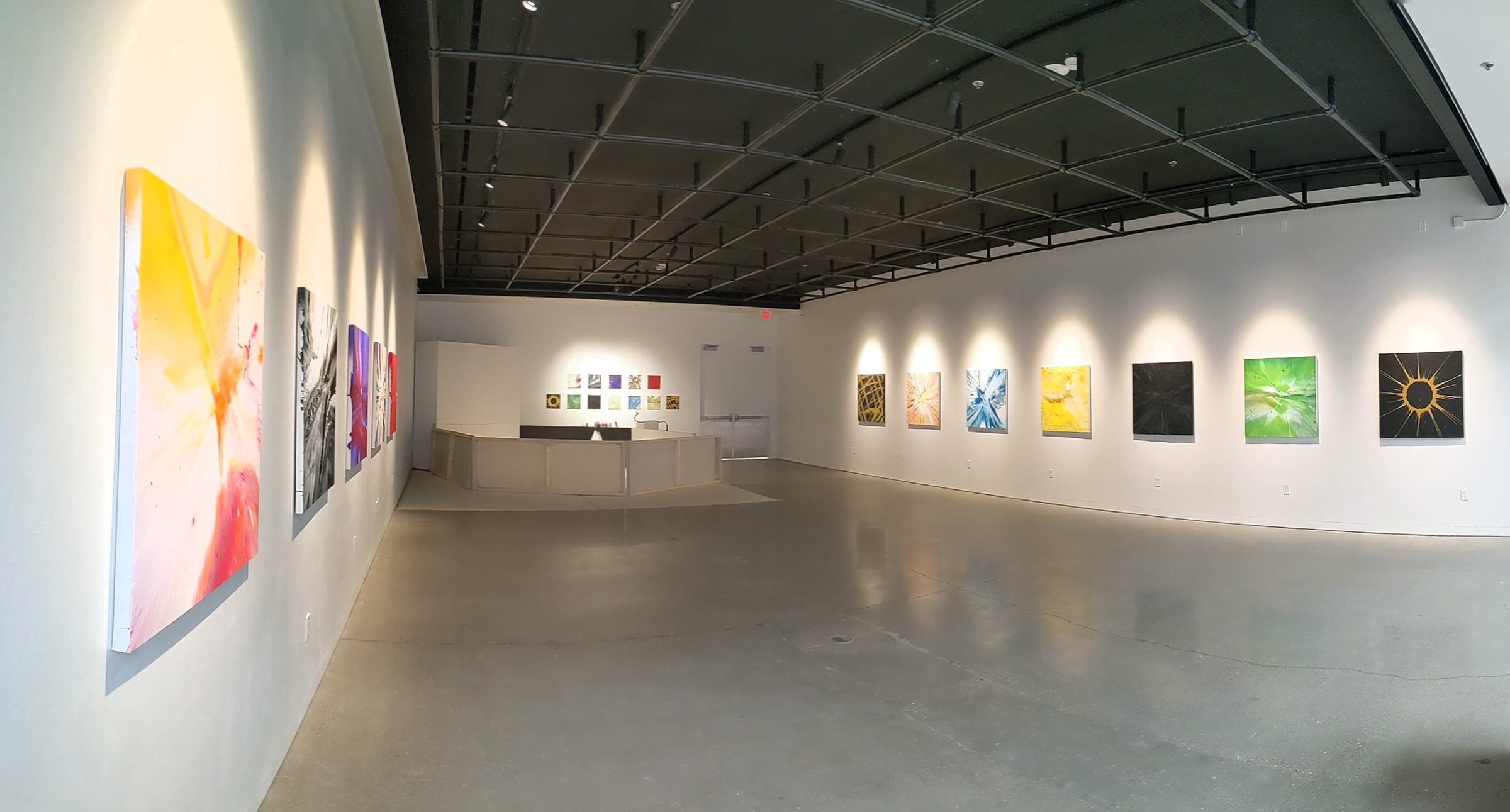 Installation view of Abstract   React   Impact Master of Fine Arts Exhibition by Paul Bulgin at the Art Lofts Gallery, University of Wisconsin-Madison.