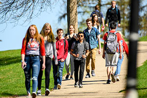 College students walking at UW-Madison Campus
