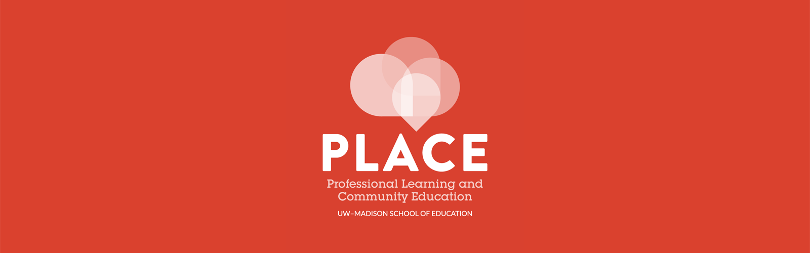PLACE center reverse logo on red background