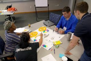 Four educators sit around a table to collaborate on a making activity involving markers, tape, and poster board.