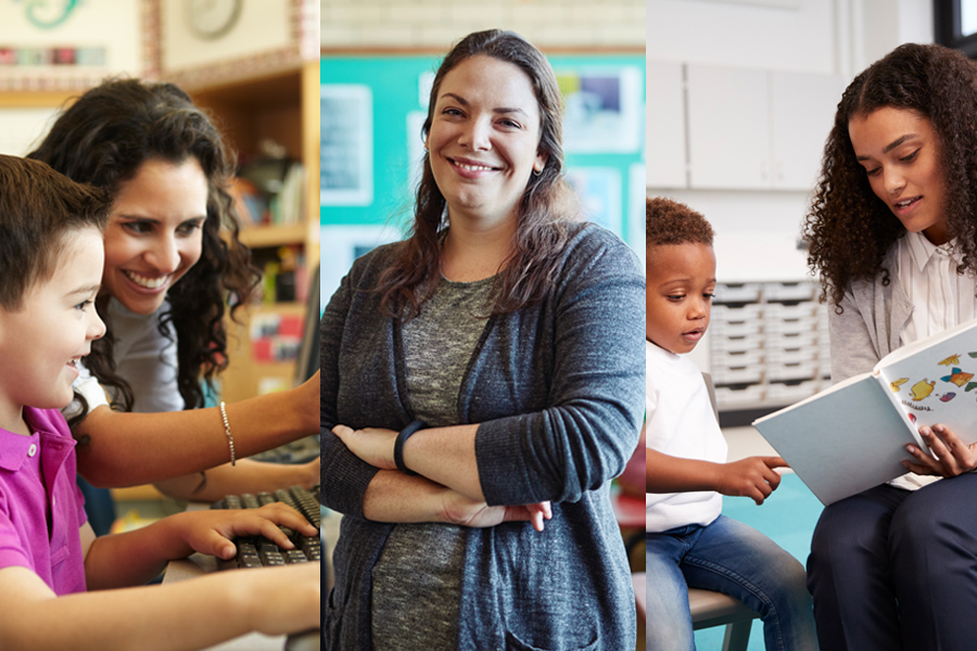 Center image of a woman with brown hair crossing her arms smiling. Two other images of elementary students working with their teachers on a computer and reading a book.