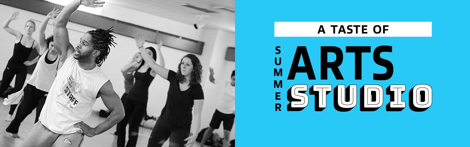 Left: UW–Madison professor of dance, Duane Holland Jr., leads a studio dance class. Right: Taste of Summer Arts Studio logo.