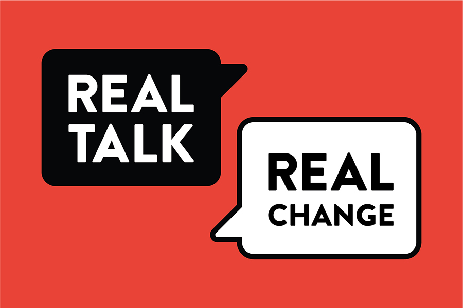 Graphic of a red box with a black text bubble that says Real Talk and a white text bubble that says Real Change
