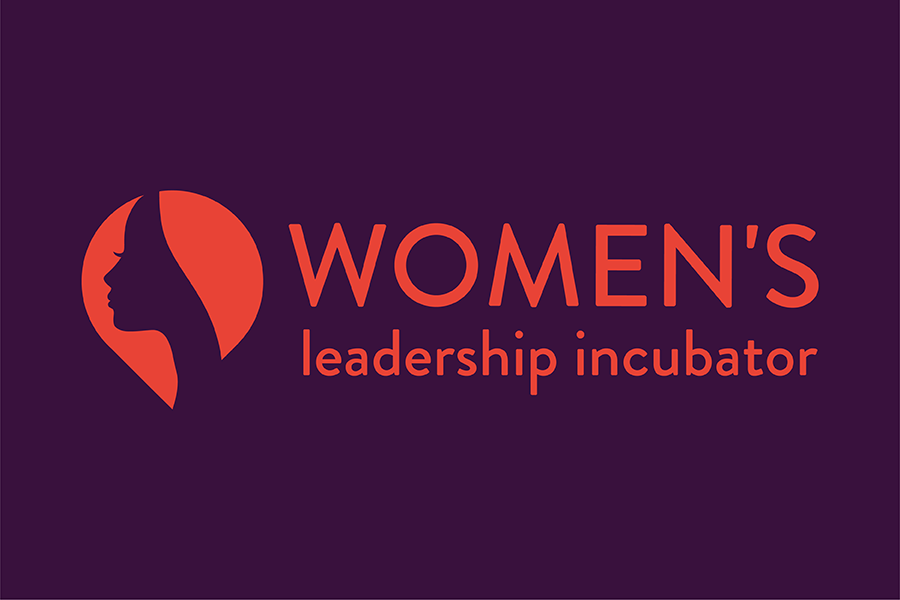 A purple and red graphic that says Women's Leadership Incubator in red text with a purple background