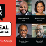 Real Talk for Real Change conversation balloon logo with headshots of the six panelists.