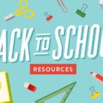 """Animated image of school supplies spread out on a blue background with """"back to school resources"""" text overlaid"""