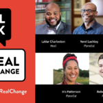 Real Talk for Real Change conversation balloon logo with headshots of the five panelists.