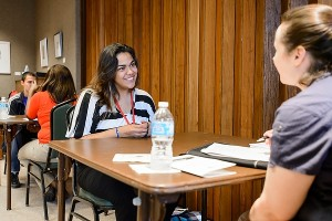 Student conducts information interview