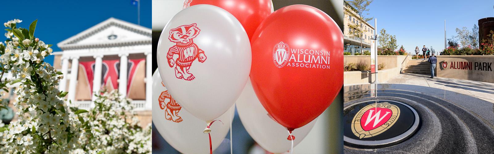 Bascom Hall, Alumni park and balloons featuring Bucky Badger and the Wisconsin Alumni Association logo