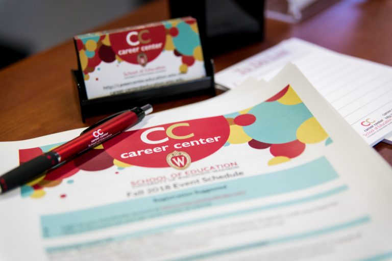 Photo of the Career Center flyers and business cards