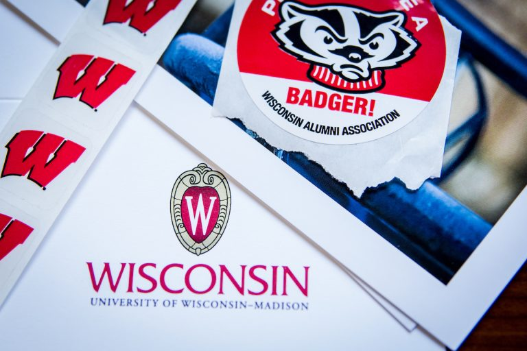 Photo of Wisconsin stickers and folder