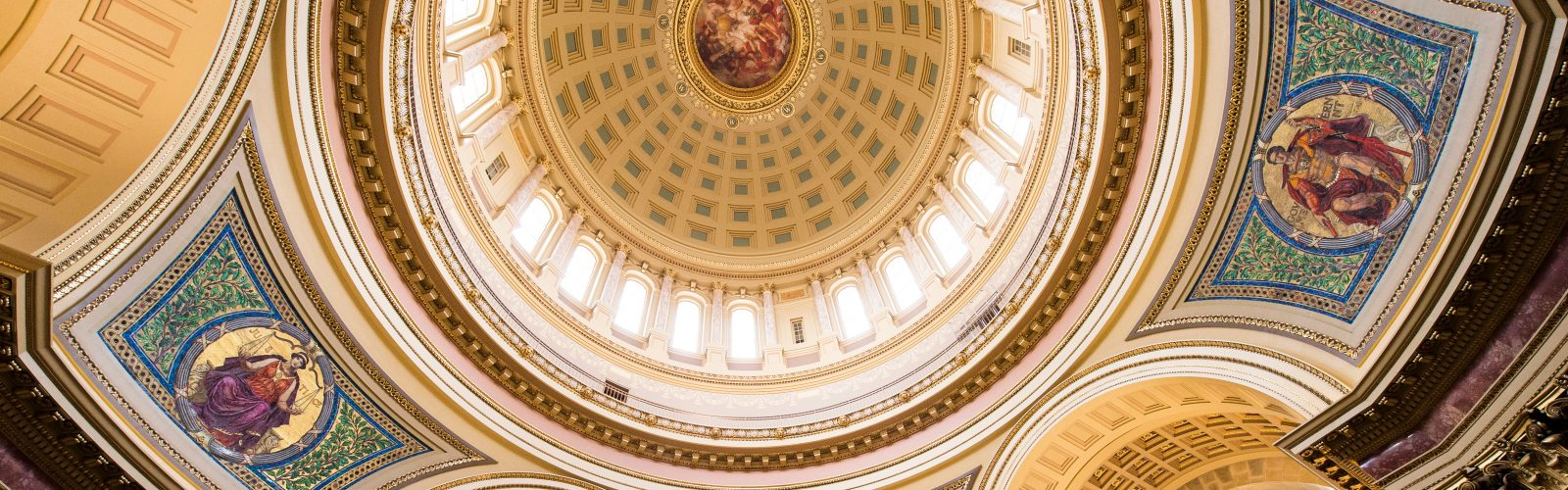 ornate ceiling of a government building_ become a social studies teacher at uw madison