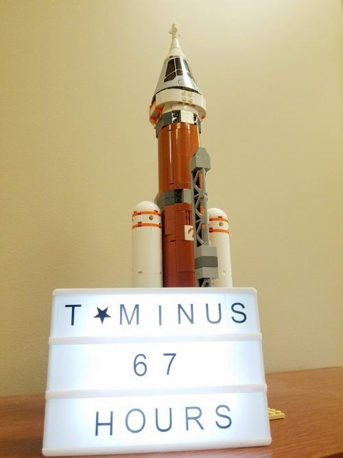 Photo of a Lego rocket at launch countdown